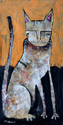 Feline Mixed Media Metal Prints - Feles Metal Print by Mark M  Mellon
