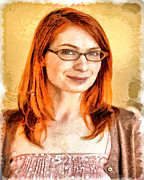 Nerd Painting Framed Prints - Felicia Day Framed Print by Joe Misrasi
