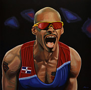 Olympic Sport Framed Prints - Felix Sanchez Framed Print by Paul  Meijering
