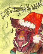 Razorbacks Painting Prints - Feliz Hogidad Print by Cindy Watkins
