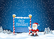 Vector Prints - Feliz Navidad Sign Santa Claus Winter Landscape Print by Frank Ramspott