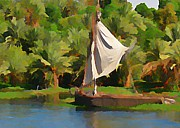 Boats On Water Digital Art Posters - Felluca on the Nile Poster by John Malone