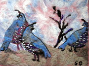 Felt Tapestries - Textiles Metal Prints - Felt Art Fun Metal Print by Selma Glunn