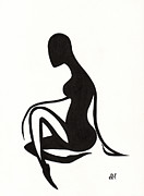 Human Nature Metal Prints - Female 1 - Silhouette Series Metal Print by Atalina Marie Homan