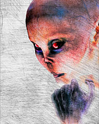 Grey Prints - Female Alien Portrait Print by Bob Orsillo
