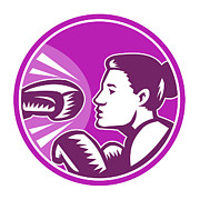 Boxer Digital Art Posters - Female Boxer Punch Retro Poster by Aloysius Patrimonio