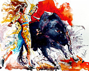 Abstract Wildlife Paintings - Female Bullfighter by Steven Ponsford