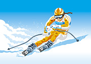 Sport Framed Prints - Female Downhill Skier Winter Sport Framed Print by Frank Ramspott