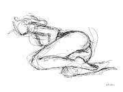 Life Drawings Posters - Female-Erotic-Sketches-8 Poster by Gordon Punt