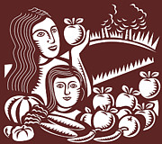 Fruits Digital Art Framed Prints - Female Farmer and Child Framed Print by Aloysius Patrimonio