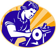 Seamstress Posters - Female Machinist Seamstress Worker Sewing Machine Poster by Aloysius Patrimonio