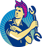 Female Worker Prints - Female Mechanic Worker With Spanner Retro Print by Aloysius Patrimonio