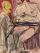 Friendly Paintings - Female Nude and Man Sitting at a Table by Ernst Ludwig Kirchner