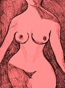 Female Figure Drawings Drawings Posters - Female Nude Figure Poster by Anita Dale Livaditis