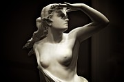 Sepia Sculpture Framed Prints - Female Nude - Flowing Hair Framed Print by Kingston Kodan