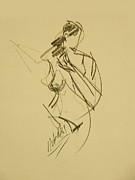 Action Drawings Originals - Female Nude Half Action Figure by Frederick Hubicki