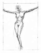 Crucifix Art Drawings Metal Prints - Female Nude In The Pose As Jesus Christ Crucifix  - Pencil Drawing Metal Print by Nenad  Cerovic