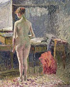 Camille Pissarro Framed Prints - Female Nude seen from the Back Framed Print by Camille Pissarro