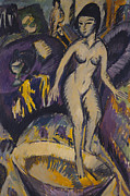 Full-length Portrait Framed Prints - Female Nude with Hot Tub Framed Print by Ernst Ludwig Kirchner