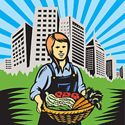 Produce Digital Art Framed Prints - Female Organic Farmer Urban Framed Print by Aloysius Patrimonio
