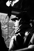 Helicopter Pilot Framed Prints - female pilot on board papillon helicopter tour flying into Grand canyon Arizona USA Framed Print by Joe Fox