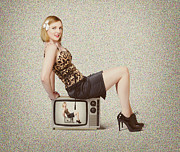 Female Television Show Actress On Old Tv Set Print by Ryan Jorgensen
