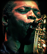 Black Man Prints - Femi Kuti on Saxophone  Print by The  Vault - Jennifer Rondinelli Reilly