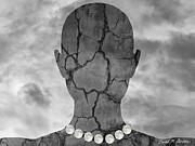Cracks Digital Art Metal Prints - Feminine Figure With Moon Necklace Metal Print by Dave Gordon