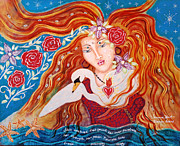 Swan Goddess Paintings - Feminine Heart by Kiernan Antares