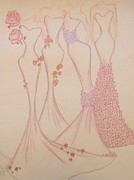Evening Wear Pastels Posters - Femmes Florales Poster by Christine Corretti