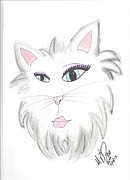 Cute Cat Pastels Prints - Femmy Fur Print by Marie De Garo