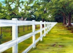 Oaks Painting Framed Prints - Fence Along the Grove Framed Print by Elaine Hodges