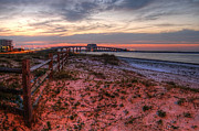 Beach Fence Digital Art Posters - Fence and Perdido Bridge sunrise  Poster by Michael Thomas