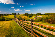 Beautiful Scenery Pastels Prints - Fence and view of rolling hills and farmland in Antietam National Battlefield MD Print by Jon Bilous