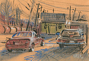 Car Pastels Prints - Fence Company Print by Donald Maier
