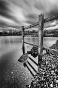Black And White Prints Prints - Fence in the loch  Print by John Farnan