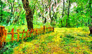 Colors Of Autumn Painting Prints - Fence in the woods 2 Print by George Rossidis