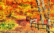 Colors Of Autumn Painting Prints - Fence in the woods Print by George Rossidis