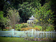 Gazebo Wall Art Prints - Fenced Butterfly Garden Print by Sheri McLeroy