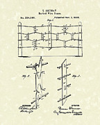 Wire Drawings Prints - Fencing 1880 Patent Art Print by Prior Art Design
