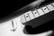 Stratocaster Metal Prints - Fender Electric Guitar Black and White Metal Print by Natalie Kinnear