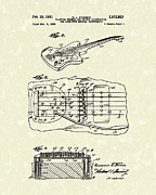 Patent Artwork Drawings Metal Prints - Fender Floating Tremolo 1961 Patent Art Metal Print by Prior Art Design