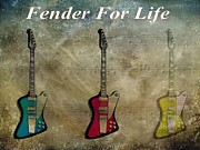 Kurt Cobain Digital Art - Fender For Life by Dan Sproul
