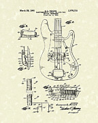 Patent Drawings Prints - Fender Guitar 1961 Patent Art Print by Prior Art Design