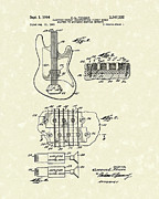Fender Drawings - Fender Guitar 1964 Patent Art by Prior Art Design