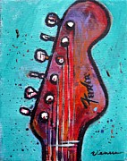 Electric Guitar Painting Originals - Fender Guitar by Venus