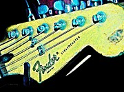 Fender Stratocaster Posters - Fender Head in Watercolor Photo Poster by Chris Berry