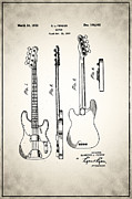 Guitar Player Prints - Fender Precision Bass Patent 1952 Print by Digital Reproductions