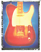 Fender Telecaster Framed Prints - Fender Telecaster Guitar Print Red And Blue Framed Print by Artful Musician NY