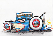 White Walls Drawings Framed Prints - Fenderless Framed Print by Mike Royal